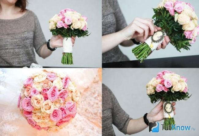 Букеты на свадьбу своими руками фото с живыми цветами 35