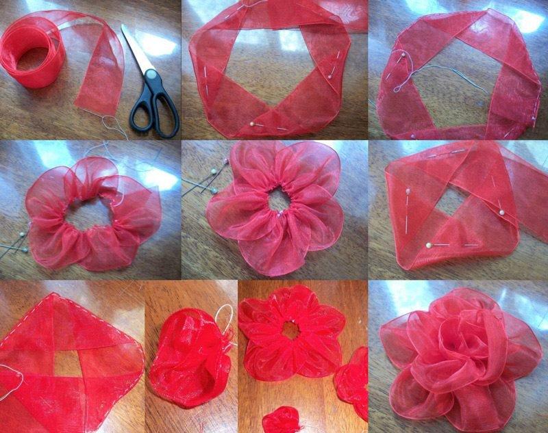 Как сделать цветок из ткани своими руками схема