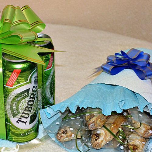 Торт из банок пива и букет из рыбы пошаговый рецепт с