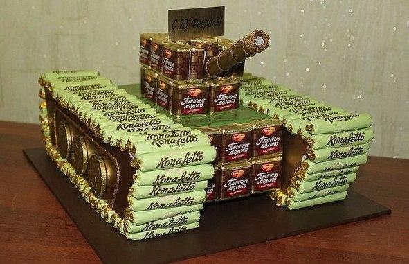 Своими руками танк из конфет