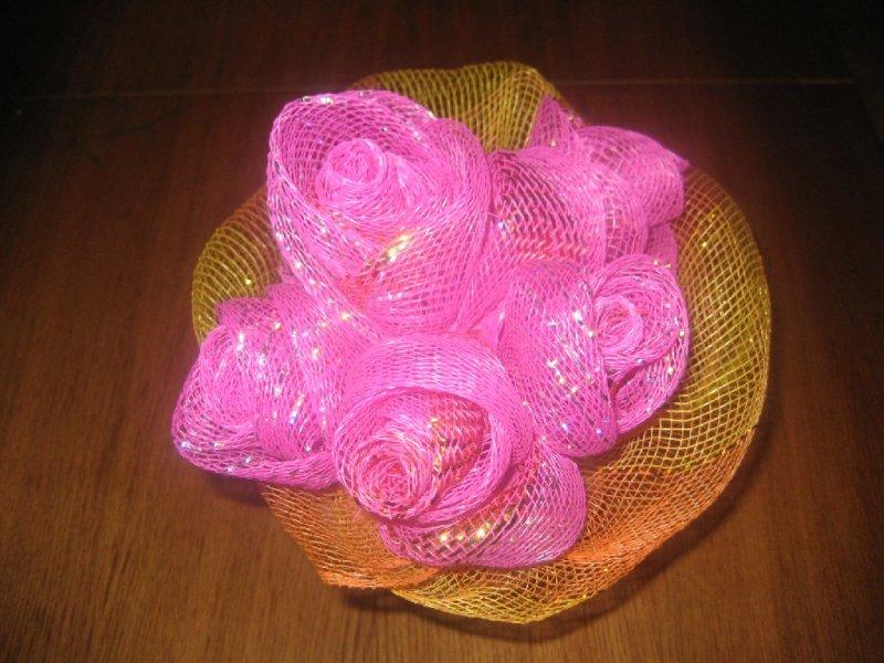 Цветы из сетки для цветов