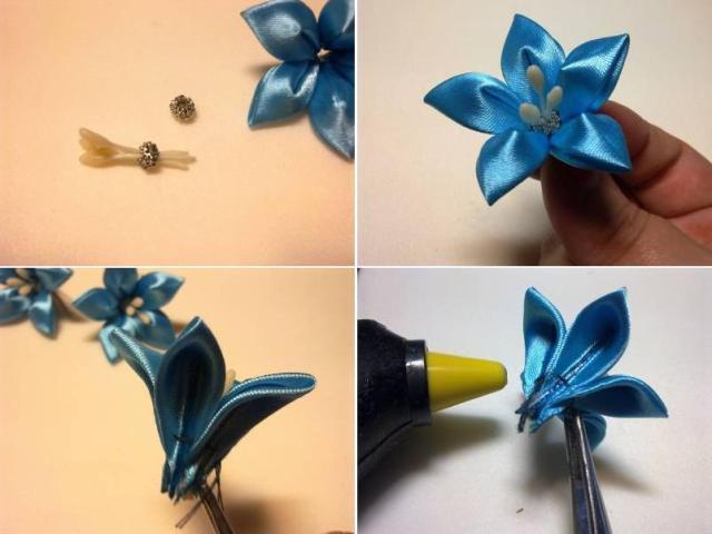 Как сделать канзаши из атласной ленты пошаговое фото