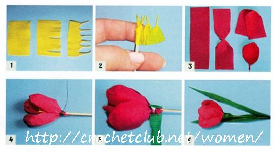 Для изготовления поделки тюльпаны в вазе мальчик разрезал
