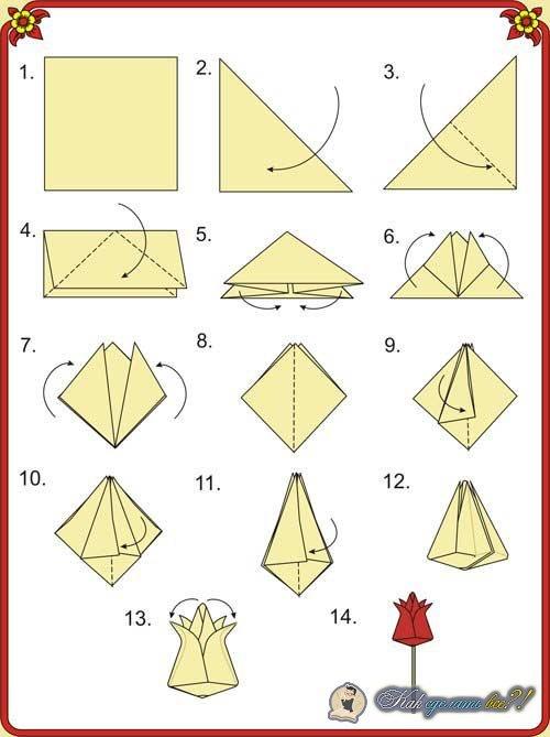 Оригами своими руками из бумаги схемы тюльпан