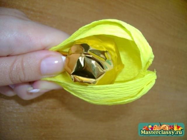 Букет крокусы из конфет пошаговое для начинающих