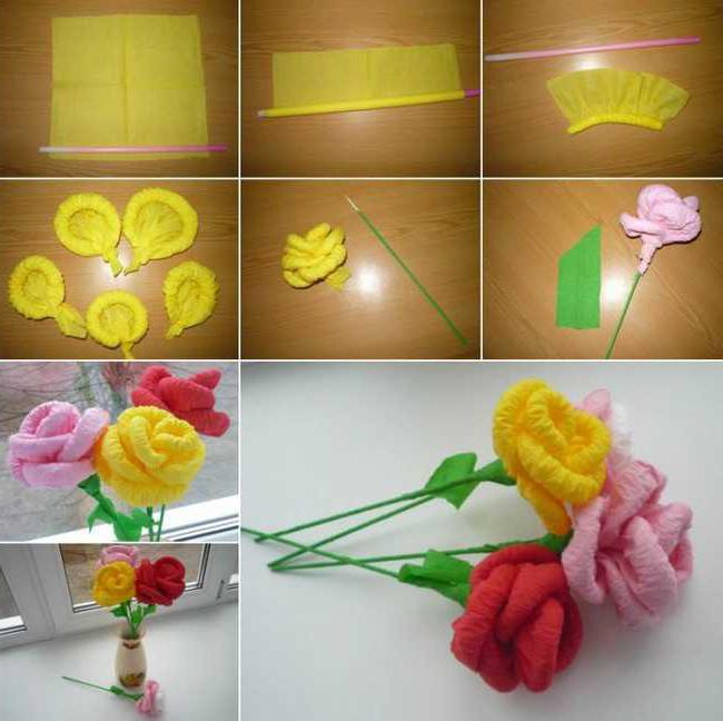 Как сделать из салфеток розу своими руками