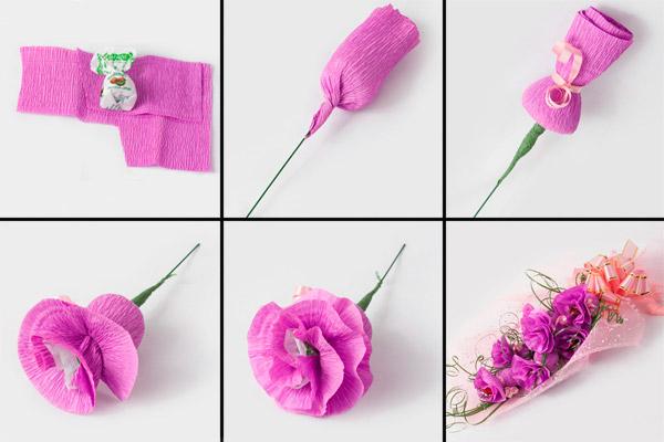 Как сделать розу из конфет и гофрированной бумаги своими руками