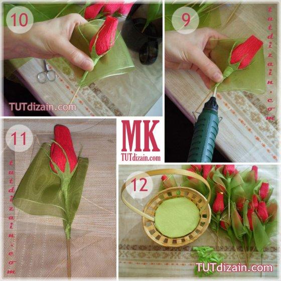 Как сделать цветы из бумаги с конфетами пошагово
