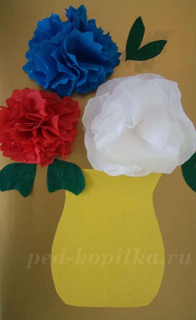 Аппликации цветов из гофрированной бумаги своими руками 90