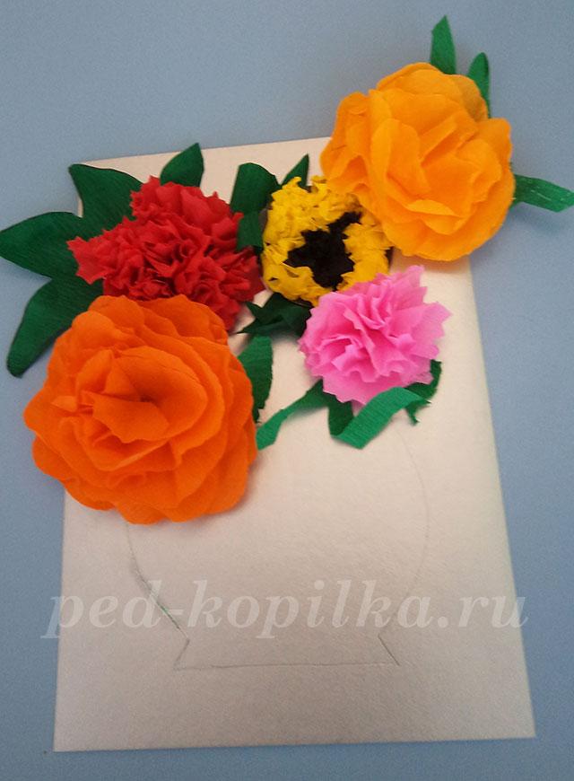 Аппликации цветов из гофрированной бумаги своими руками 85