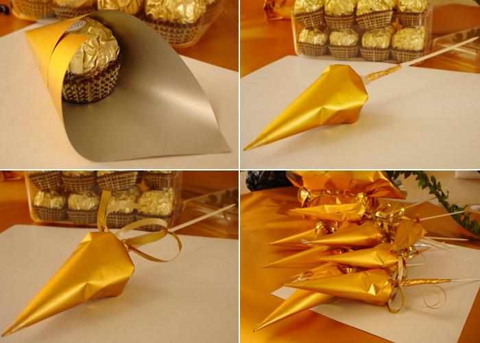 Как самим сделать букет из конфет пошаговое