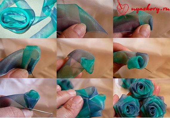 Как сделать цветы из ленточек для начинающих видео