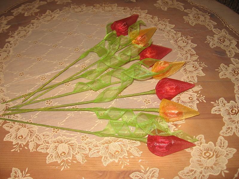 Тюльпаны из конфет мастер класс с пошаговым для начинающих