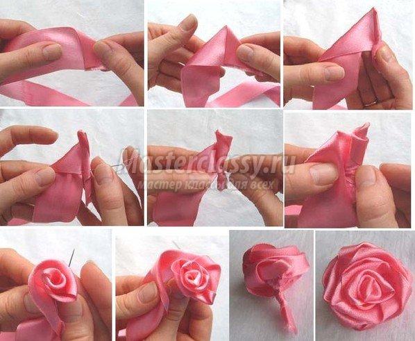 Из ленточек своими руками роза 235