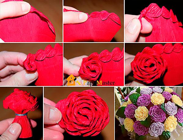 Цветы из гофрированной бумаги своими руками пошаговое фото