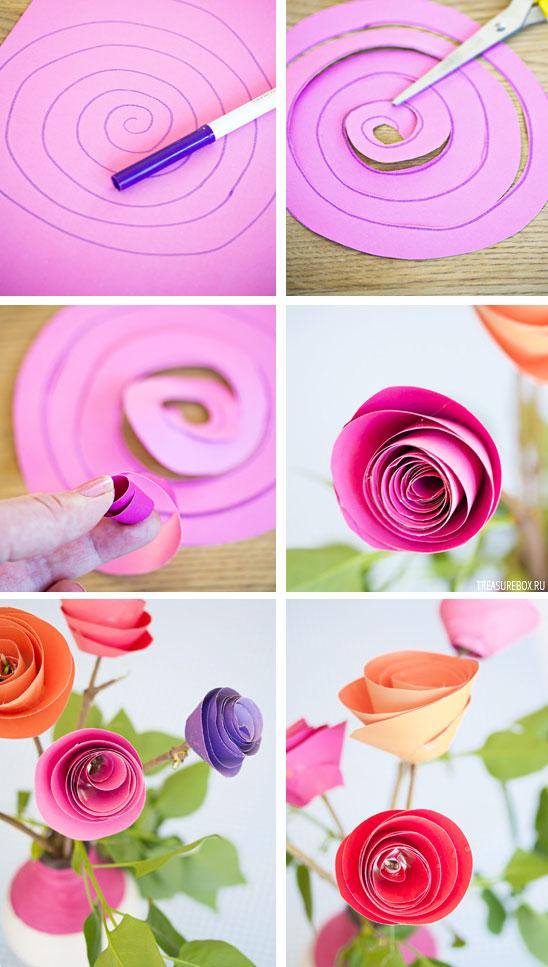 Цветы из бумаги своими руками из простой белой бумаги