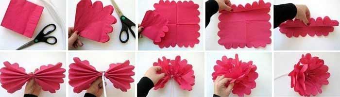Как сделать из салфеток цветок розу