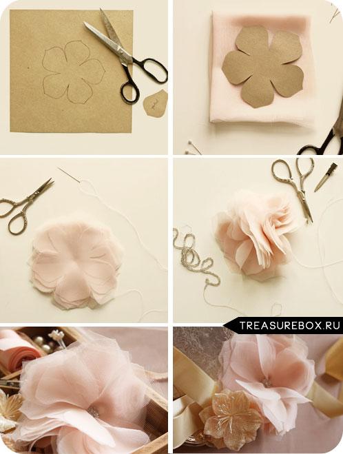 Сделать красивые цветы из ткани своими руками