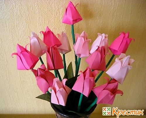 Оригами цветок из цветной бумаги своими руками