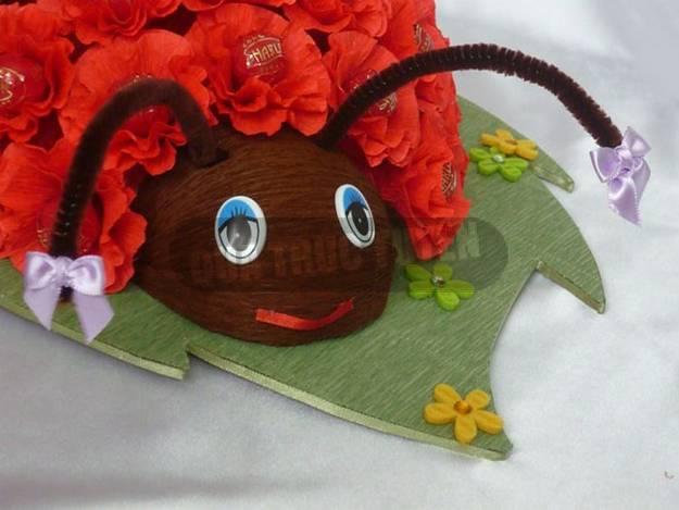 Картинка конфетный букет Божья коровка, мастер-класс