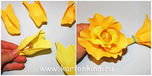 Осенний букет из гофрированной бумаги своими руками мастер класс 97