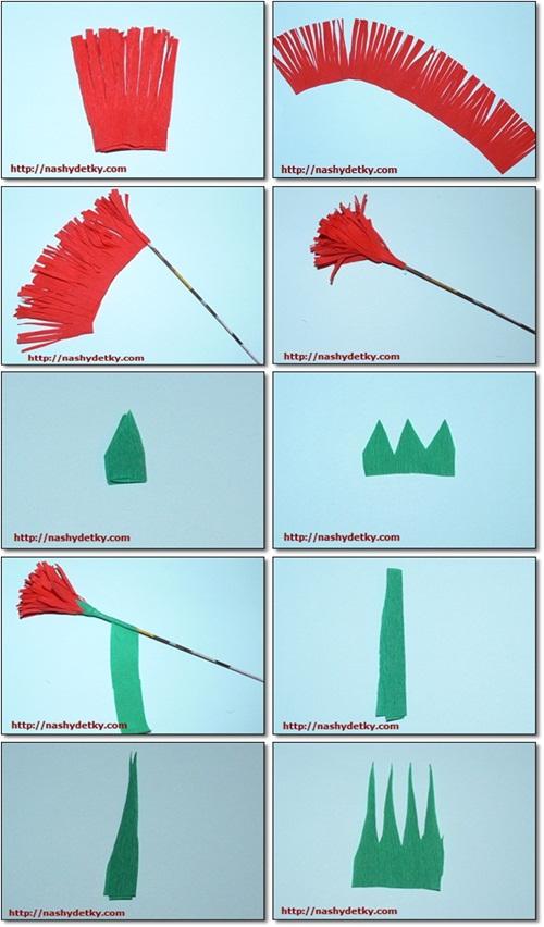 Как сделать цветок из бумаги гвоздику