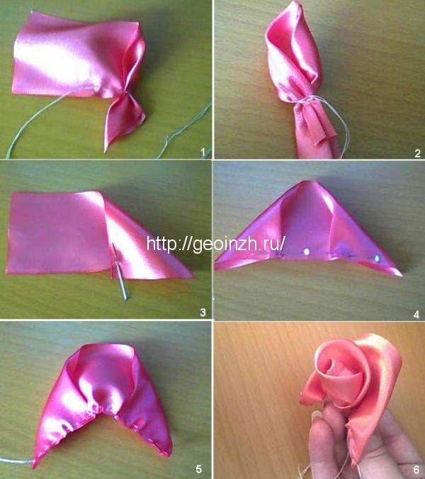 Как сделать розочку из атласной ленты своими руками видео