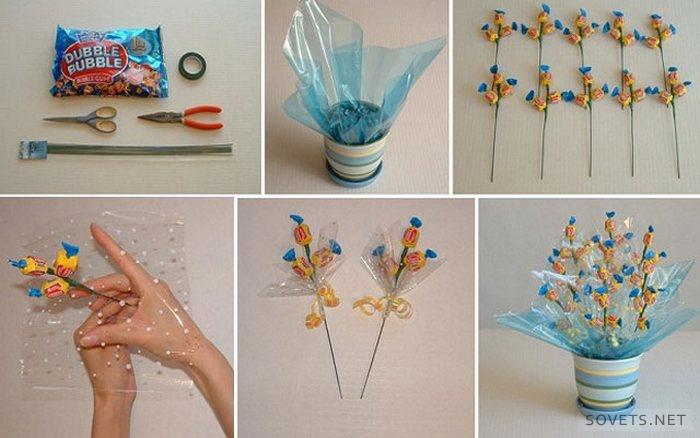 Как сделать подарочные букеты из бумаги