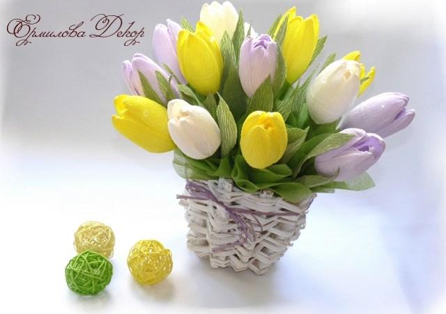 Тюльпаны из конфет своими руками из гофрированной бумаги